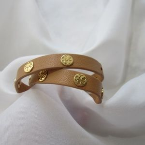 Tory Burch NWOT Double Wrap Logo Bracelet Gold